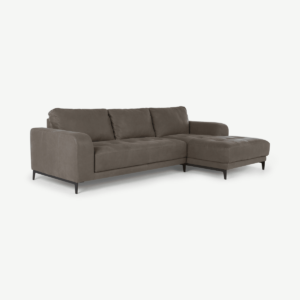 Luciano Right Hand Facing Corner Sofa, Texas Grey Leather